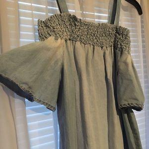 Dresses & Skirts - Denim off shoulder dress detachable straps size M